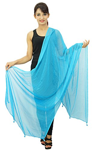 Entourage 2 Soie Mousseline Indienne En Longueue Étole Bleu Femmes Aqua Dupatta De Chunni Foulards ctOwwYqR