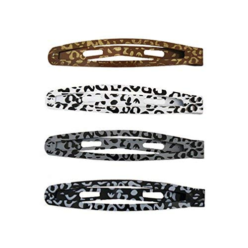 - Mia Snip Snaps, Beautiful, Pretty, Stylish Painted Metal Barrettes, Hair Clips, Leopard Animal Print, Brown, White, Charcoal Gray, Black, For Women and Girls 4pcs