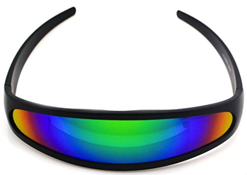 Futuristic Cyclops Shield Cosplay Mirrored Lens Visor Sunglasses (Visor Black - Futuristic Visor