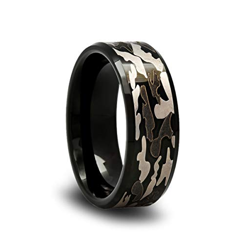 Tungsten Camo Wedding Band with Gray and Black Camouflage Pattern and Beveled Edges -