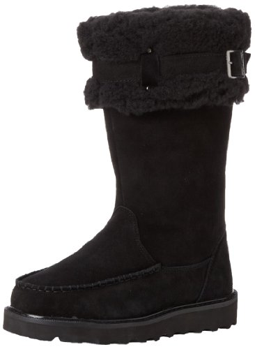 Bearpaw Femmes Avery Suede Laine Mélange Moc-toe Boot Noir / Noir