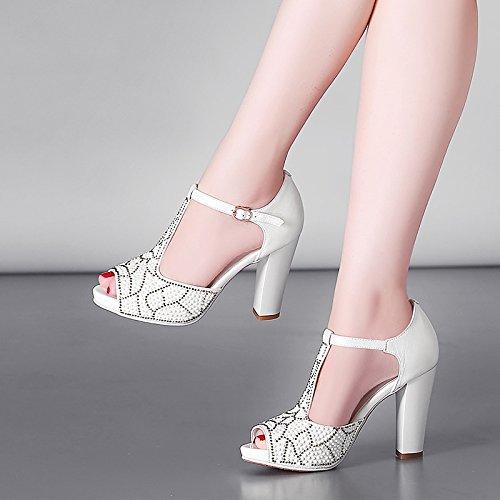 Zapatos de diamantes de pescado sandalias de tacón alto pesado con blancos tacones súper altos impermeables White