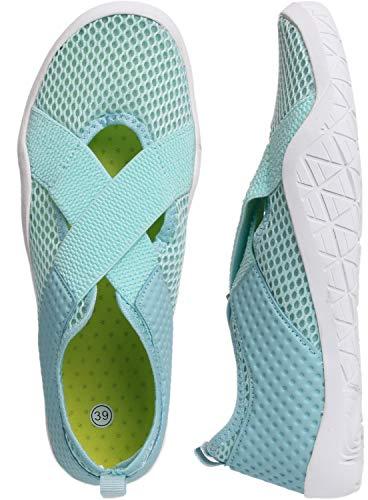 WHITIN Women's Mary Jane Water Shoes for Aqua Hiking Trail Running Sport Minimalist Barefoot Wave Walking Beach Swim Surf Outdoor Kayaking Athletic Female Ladies Blue Size 7