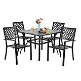 """PHI VILLA 37"""" x 37"""" Patio Outdoor Dining Table with Umbrella Hole, Square Bistro Metal Steel Slat Table for Garden Backyard Poolside Deck, Black"""