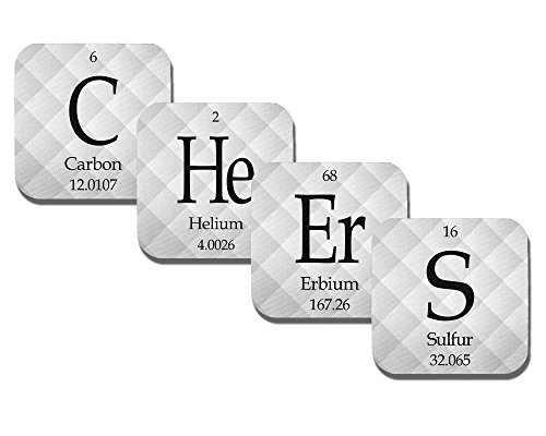 Periodic Table Coasters - Cheers - Neoprene 4 Piece Set - Science - Chemistry - Neurons Not ()