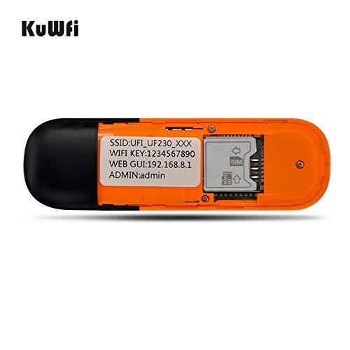 KuWfi Drahtloser Mini-USB Hotspot 3 G WiFi Modem + WiFi Router, Mobile, Wireless, Netzwerk, Hotspot mit SIM-Kartenschlitz, unterstützt 2G/3G Netzwerk, HSPA +/HSPA/UMTS 2100 MHz. Edge: 900/1800 MHz für Außen und Innen im Bus oder im Auto (SI
