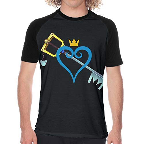 CUSARTSHOP Men's Slim-fit Short Sleeve Baseball T-Shirt, Heart and Sword Black