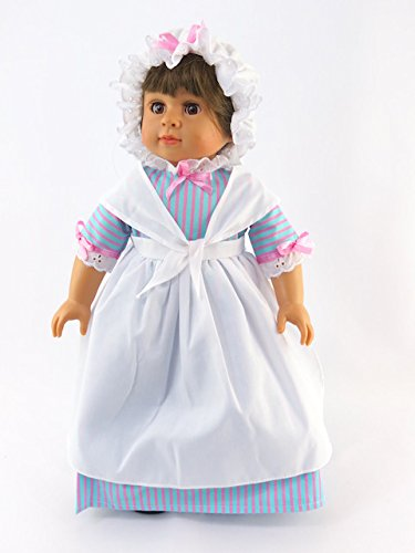 Berenguer Doll Clothing (Historical Colonial Dress with Colonial Style Mobcap| Fits 18