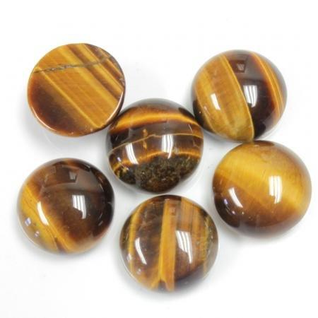 13mm Round Genuine Tigereye Calibrated Cabochon 6 Piece Lot Flat Back DIY Jewelry Making