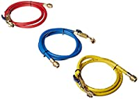 """Yellow Jacket 29984 Plus II 1/4"""" Hose with Compact Ball Valve, 48"""" (Pack of 3)"""