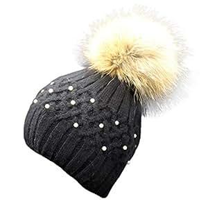 gotd mujeres tejer lana cálido gorro Beanie gorro invierno al aire libre Pearl ganchillo Knit Cap