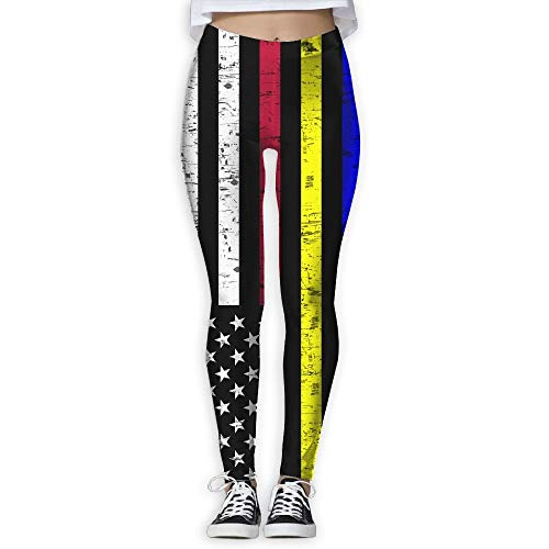 63fcff0323393e Thin Red Blue Yellow First Responders Line Womens Full-Length Sports  Running Yoga Workout Leggings