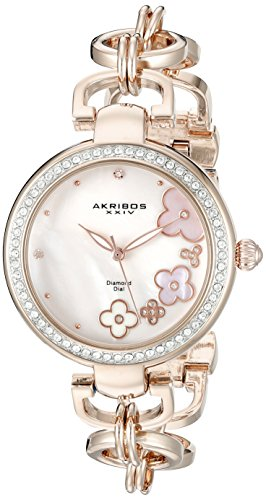 Akribos XXIV Womens AK874RG Round Pink Mother of Pearl Dial Three Hand Quartz Rose Gold Tone Strap Watch