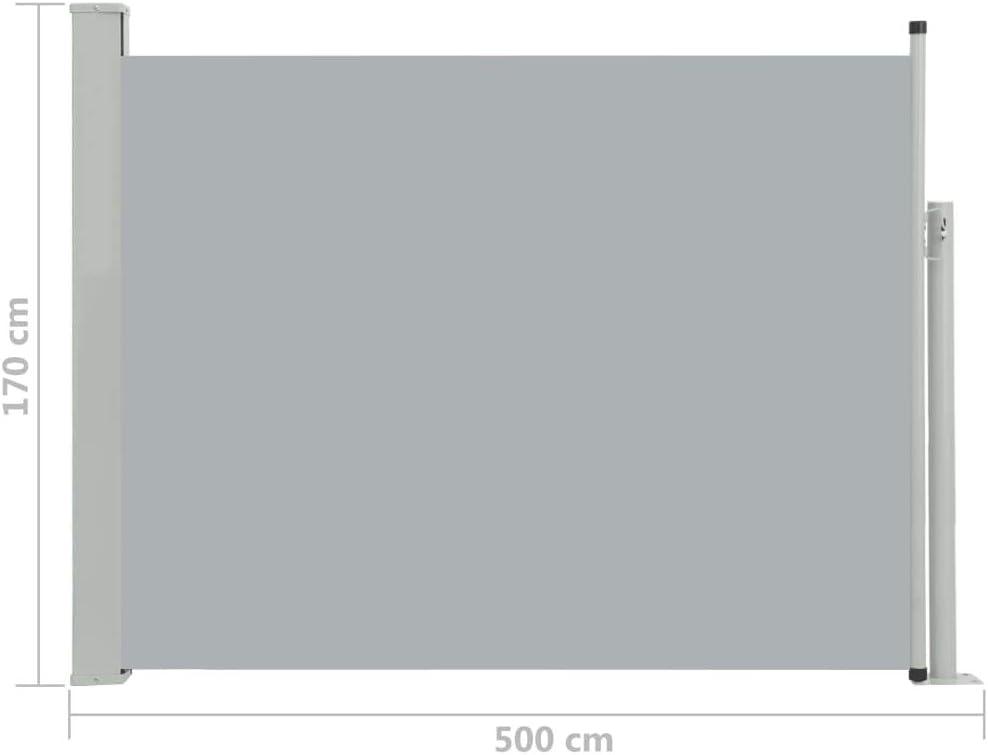 vidaXL Tenda da Sole Laterale Retrattile per Patio Privacy Automatica Schermo Parasole Frangivento 120x500 cm in Tessuto PU Nera Telaio in Ferro