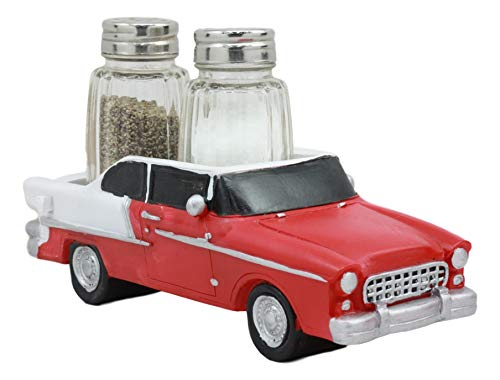 (Ebros Classic Red Vintage Prince Of Bel Air Automobile Car Figurine Holder For Glass Salt And Pepper Shakers Set Cruising Season Road Trip Old Fashioned Auto S&P Kitchen Decor Statue)