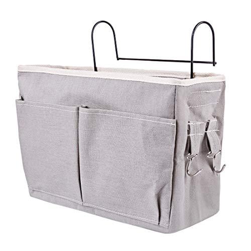 XSHION Bedside Storage Caddy Hanging Organizer Bag Holder Bunk Bed Organizer for Dorm Room,Hospital Bed Rails,Baby Bed -Grey