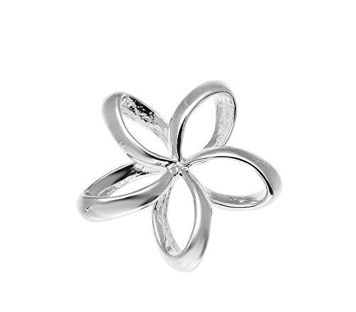925 sterling silver Hawaiian open floating outline plumeria flower slide pendant (Plumeria Slide Pendant)