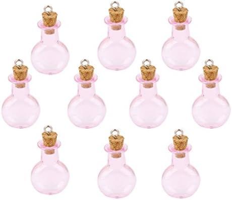 【ノーブランド品】コルクボトル ガラス製 ミニボトル コルク栓付 ループ付 ペンダントチャーム 平底フラスコ型 ピンク 10個