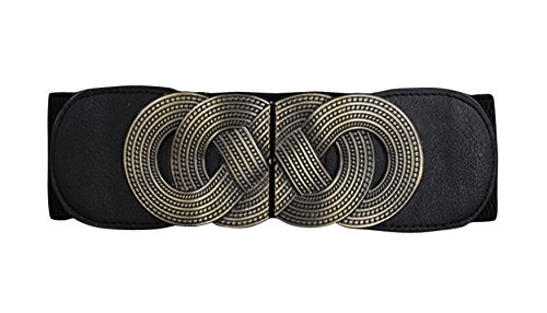 Elastic Leather Cinch Belt (E-Clover Designer Metal Buckle Women's Elastic Waist Cinch Belt)