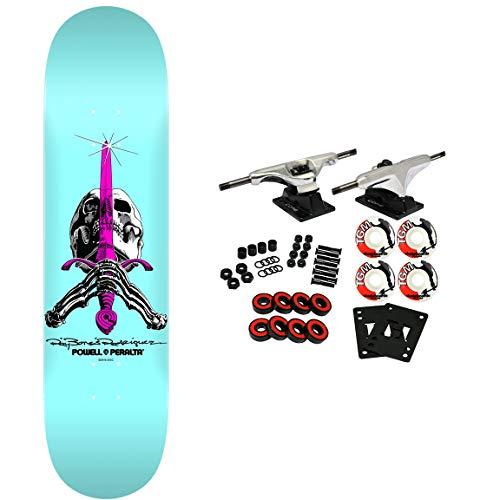 Blue Skull Skateboard - Powell-Peralta Skateboard Complete Skull and Sword Pastel Blue 8
