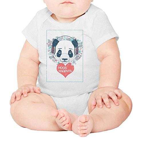 whiteCorn Panda-Classic-Lover-Valentine's-Day-Hugs-10-Cents- Cotton Unisex Infant Baby Onesies Bodysuit