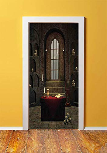 Gothic 3D Door Sticker Wall Decals Mural Wallpaper,Fantasy Theme Spell Casting Warlock Witch Skulls on Shelves Candles Spooky Scenery,DIY Art Home Decor Poster Decoration 30.3x78.2676,Red - Poem Shelf