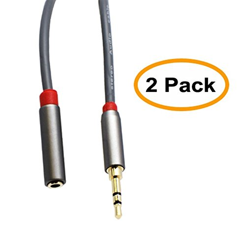 C&E 25 Feet, Premium 3.5mm Male to 3.5mm Female, Stereo Audio Extension Cable, 2 Pack, CNE54842