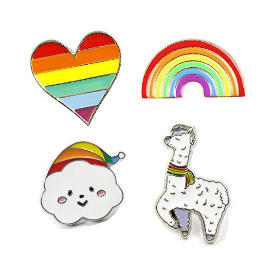 PunkStyle Creative Plant Animal Fruit Enamel Brooches Pins for Women Girls Clothing Bag Decor (Rainbow Animal Brooch 4pcs)