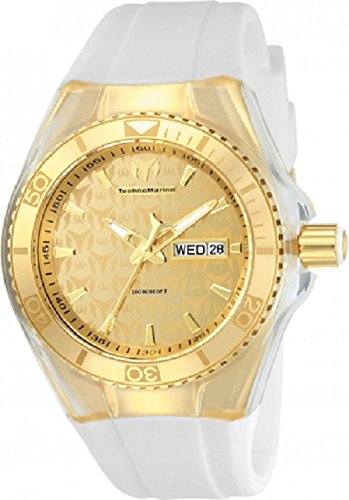 Technomarine Cruise TM-115022 Monogram Analog Display Stainless Steel 14K Gold White Silicone Strap Watch