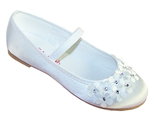 Girls' White Satin Occasion Flower Girl Bridesmaid Communion Dress Shoes Satin (Holy Communion Shoes White)