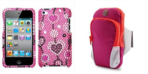 Combo Pack Love River Diamante Protector Cover for Apple iPod Touch (4th Generation) and Universal Hot Pink Nylon Waterproof Sport Armband