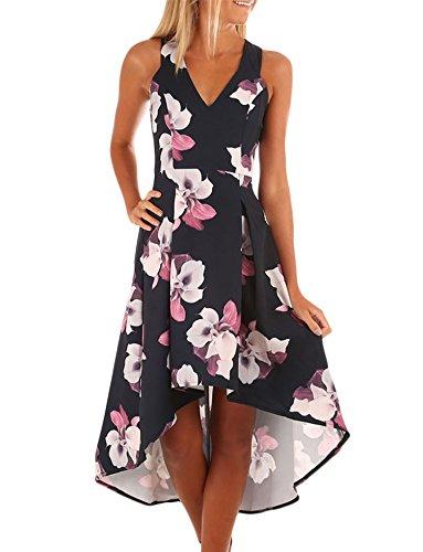 - Sidefeel Women Sleeveless High Low Hem Flower Print Midi Swing Dress Large Red