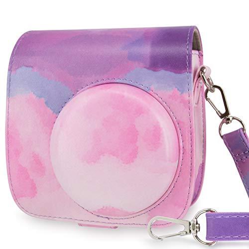 WOLVEN Protective Case Bag Purse Compatible with Fuji Instax Instant Mini 9 / Mini 8 / Mini 8+ Instant Camera, Purple