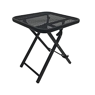 Black Square Folding Side Table Mesh Metal Powder Coated Steel Frame Garden Patio