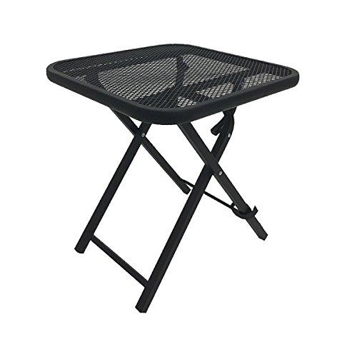 Cheap  Black Square Folding Side Table Mesh Metal Powder Coated Steel Frame Garden..