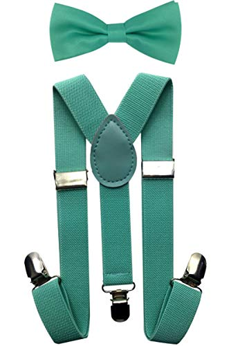 (CD Kids, Toddlers Suspender and Bow Tie Set, Adjustable Set and Colors for Boys and Girls (Mint)