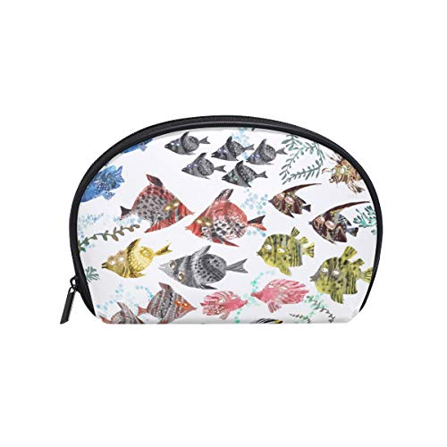 Anna Cowper Coral Reef Fishes Half Moon Cosmetic Makeup Toiletry Bag Travel Handy Organizer Pouch for Women Girls
