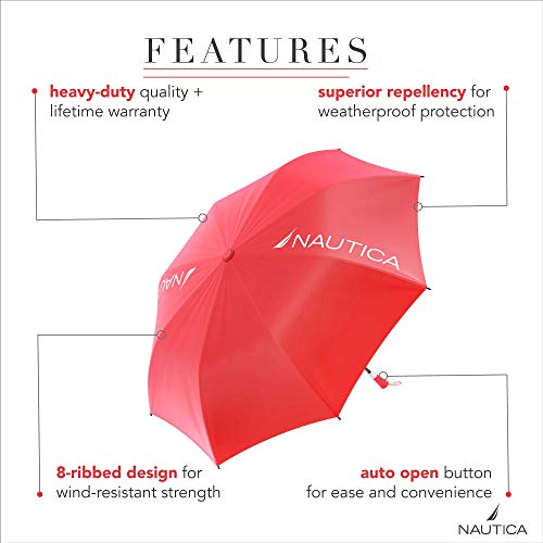 2-Pack Nautica 2-Person Umbrella - Large, Portable, Lightweight & Folding - Best Windproof Umbrellas for Rain, Sun & Wind Resistant Protection, Collapsible Two Person Coverage in Red