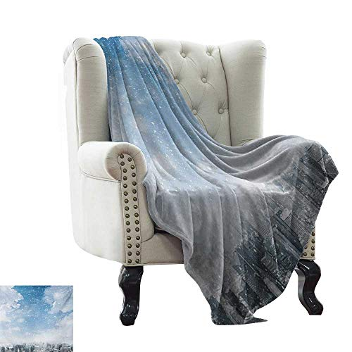 BelleAckerman Throw Blanket Winter,Snow Falling Down on New York City Urban Life Skyscrapers Streets Cold Weather,Blue Grey White Indoor/Outdoor, Comfortable for All Seasons 60