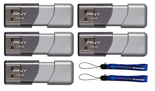 PNY 256GB USB 3.0 Flash Drive Elite Turbo Attache 3 (Five Pack) Bundle with (2) Everything But Stromboli Lanyard (P-FD256TBOP-GE)