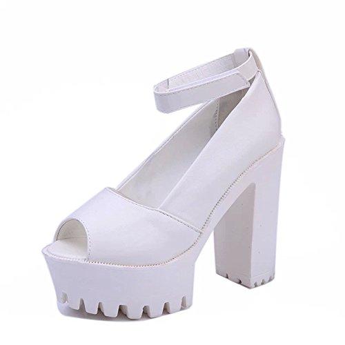 con alto bocca con Calzature donna bianco e Singola Donna pesce dello spessore Sandali calzature Taiwan di package impermeabile spessore 38 yalanshop tacco street impermeabile molla q8vWX1w1