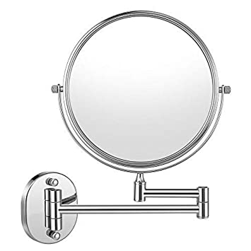 Cozzine LED Lighted Wall Mount Makeup Mirror, Two-Sided Swivel 7X Magnification Extendable Bathroom Mirror with Vertical-angle Design and Anti-vibration Bse, Chrome Finish