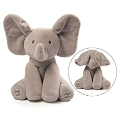 """GUND is proud to present Flappy the Elephant - an adorable singing animated plush with two different play modes. Press the left foot to play an interactive game of peek-a-boo, and the right to hear the song """"Do Your Ears Hang Low"""" in a cute c..."""