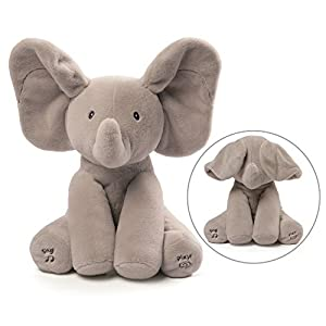 41THQ7RlYDL. SS300  - Baby GUND Animated Flappy The Elephant Stuffed Animal Baby Toy Plush, Gray, 12""