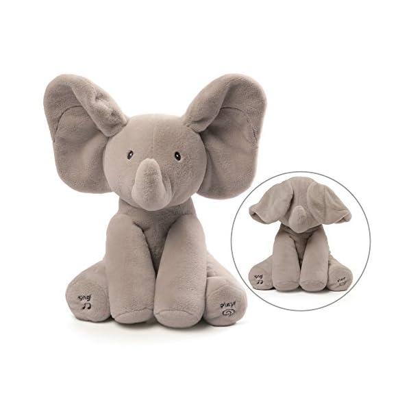"41THQ7RlYDL. SS600  - Baby GUND Animated Flappy The Elephant Stuffed Animal Plush, Gray, 12"""