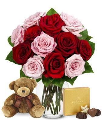 Flowers - One Dozen Red & Pink Roses with Godiva and a Bear (Free Vase Included) ()
