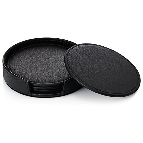 Bonavida Leather Coasters with Coaster Holder - Simple and Classy Coasters for Every Occasion