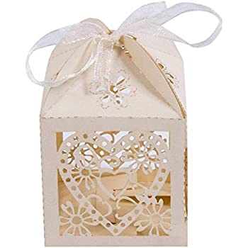 50 SurePromise White Cross Laser Cut Hollow Candy Favor Gift Box Wedding Decoration Christening Baby Shower Party Bomboniere Favors with Ribbons