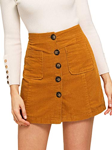 WDIRARA Women's Casual Button Front Mid Waist Above Knee Short Corduroy Skirt Ginger M ()