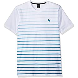Zoo York Men's Short Sleeve Gradient Stripe Crew Knit Shirt, White, X-Large